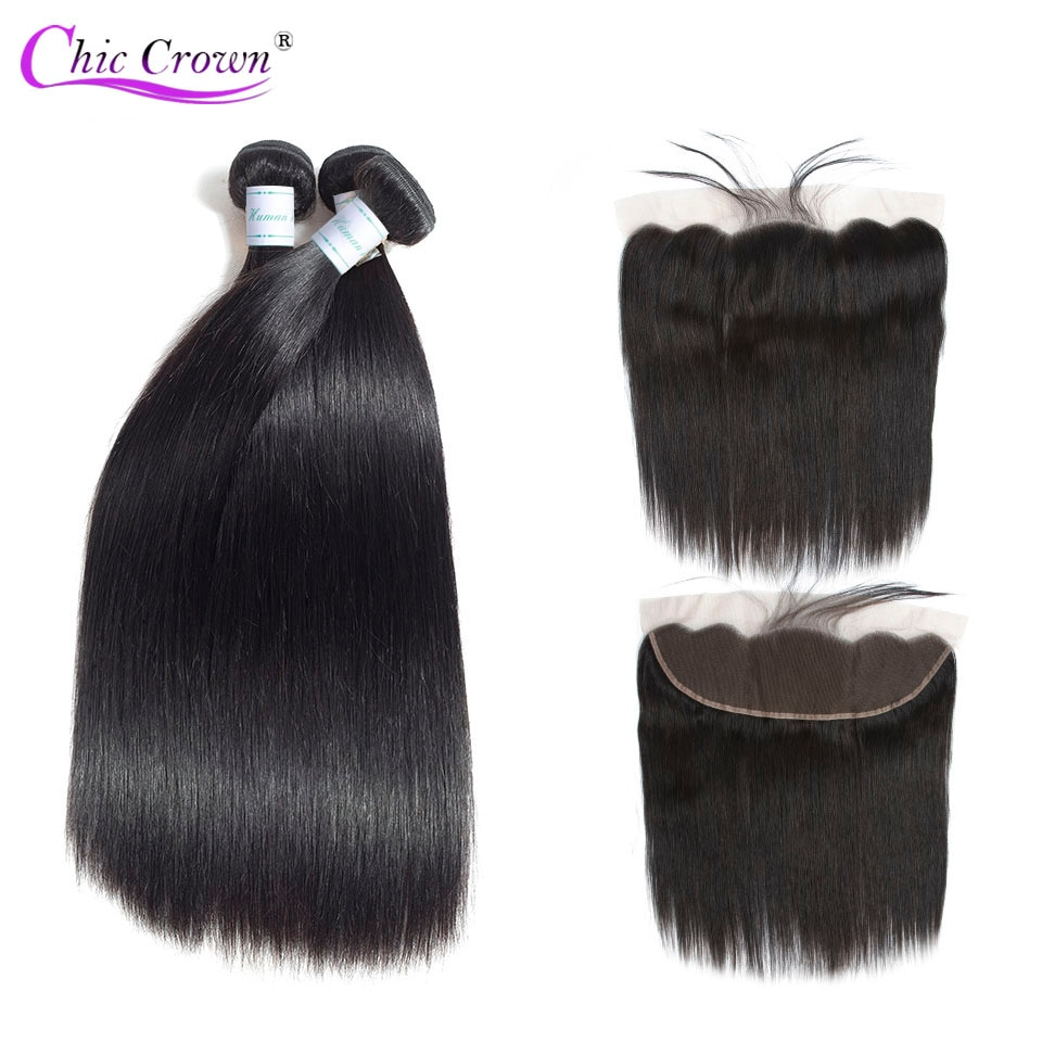 Brazilian Straight Hair Bundles With Frontal 100% Human Hair Weave 3 Bundles With13X4 Closure With Baby Hair Remy Hair Extension