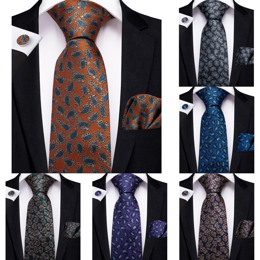2019 DiBanGu diseñador Paisley hombres regalos corbata 100% corbata de seda pañuelo gemelos corbata traje de negocios corbata para boda Set