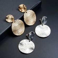 ZA Vintage Metal Textured Round Disc Clip On Earrings Without Piercing Geometric Statement Big Earri