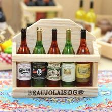 1/12 maison de poupée accessoires miniatures Mini bouteille de vin ensemble avec boîte Simulation boissons modèle jouets pour décoration de maison de poupée