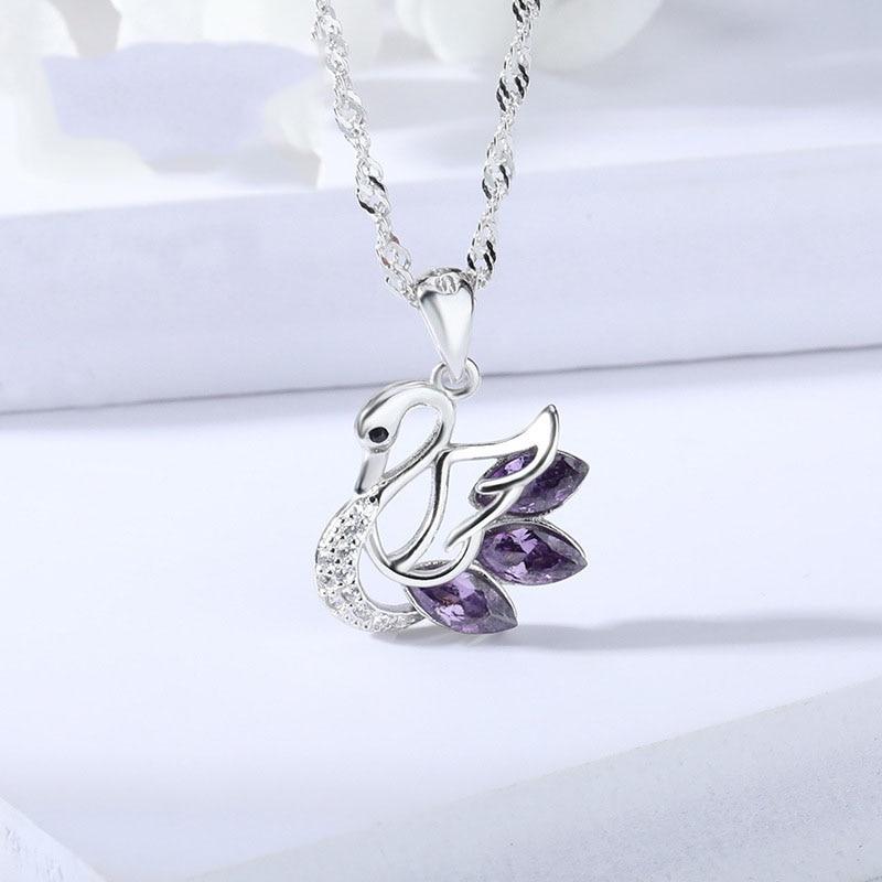 Qmrry 2019 collar de cisne de moda 925 joyería de plata de ley para Mujer Accesorios regalo de novia