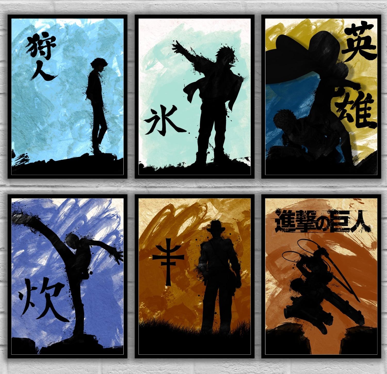 Allen Walker Hunter Kanji Fullbuster Samus Snow Totoro Vegeta Attack on Titan Japan Art Poster Canvas Painting