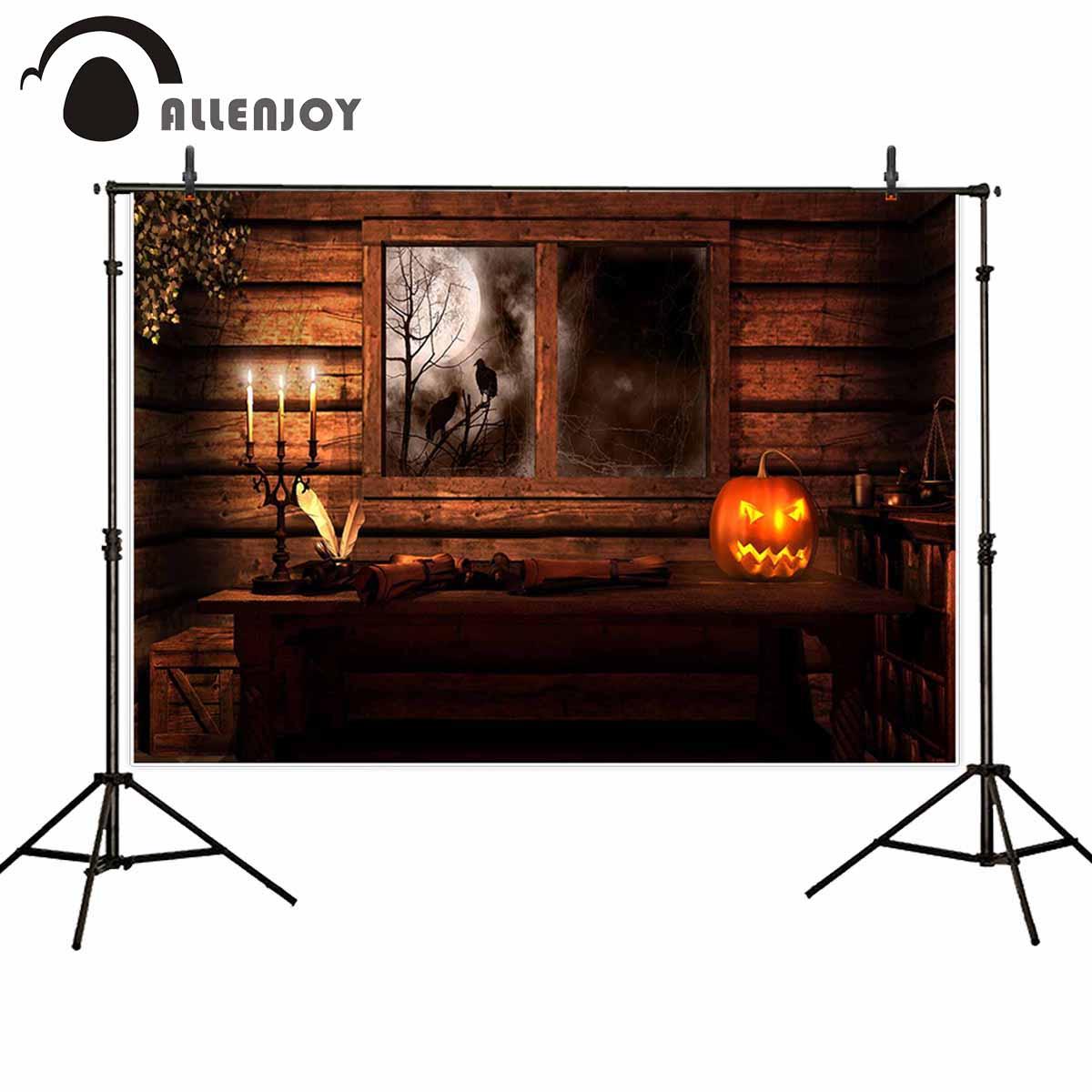 Allenjoy fondos fotográficos ventana calabaza linterna Noche Oscura árbol fiesta madera telón de fondo cabina de estudio fotográfico photocall