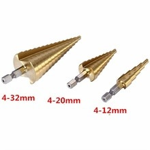 3Pcs/lot Professional HSS Steel Large Step Cone Hex Shank Coated Metal Drill Bit Cut Tool Set Hole Cutter 4-12/20/32mm 1567