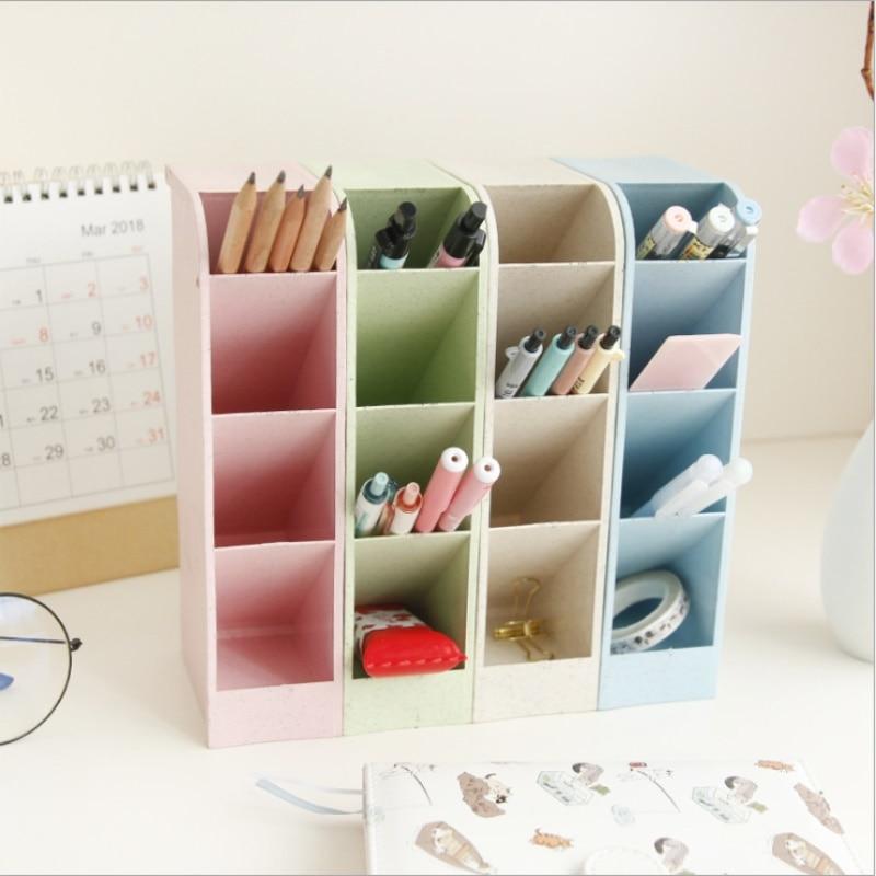 Caja de lápices TOPSTHINK con forma cuboide, caja de bolígrafo paja de trigo con 4 ranuras, caja de bolígrafo duradera de alta calidad y capacidad para escritorio