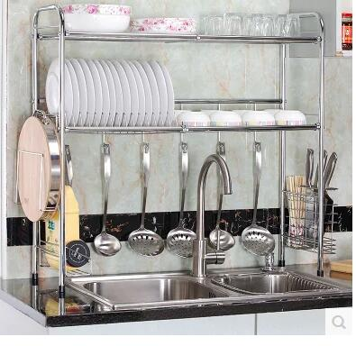 Stainless steel kitchen single and double sink drain rack. Basin storage racks..07
