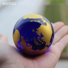 Globe de papier de cristal en verre Feng Shui   Boule de carte du monde, sphère du monde de la terre, ornements de décor nautique pour maison bureau, accessoire de décor nautique