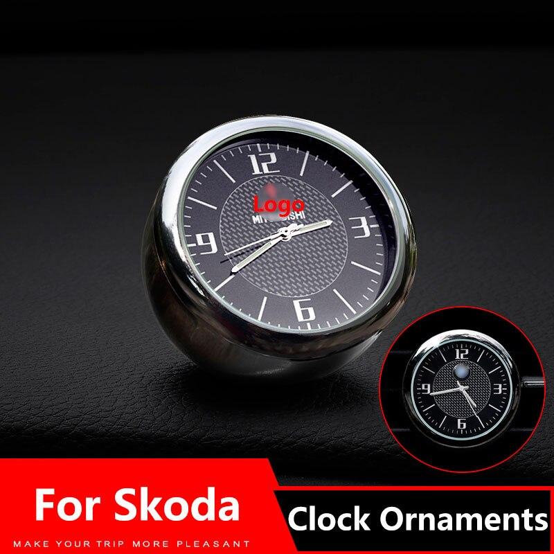 Car Clock Ornaments Air Vents Outlet Clip sticker Logo For Skoda octavia 2 kodiaq a7 a5 fabia rapid karoq superb Accessories