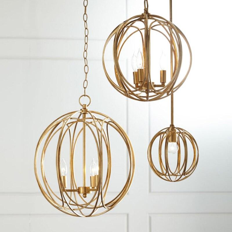 Lámpara colgante de bola de pintura dorada moderna americana, cadena colgante de hierro de diseño hueco simple, iluminación decorativa LED E14 para restaurante