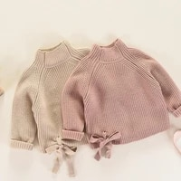 dfxd new autumn winter girls sweaters 2017 long sleeve soild cotton princess bowknot pullover knitwear kids party thick top 2 7y