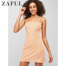 ZAFUL Sommer Plaid Bodycon Kleid Frauen Dünne Gingham Bleistift Vestidos Robe Femme Ete 2019 Vintage Zipper Kausal Mini Kleid