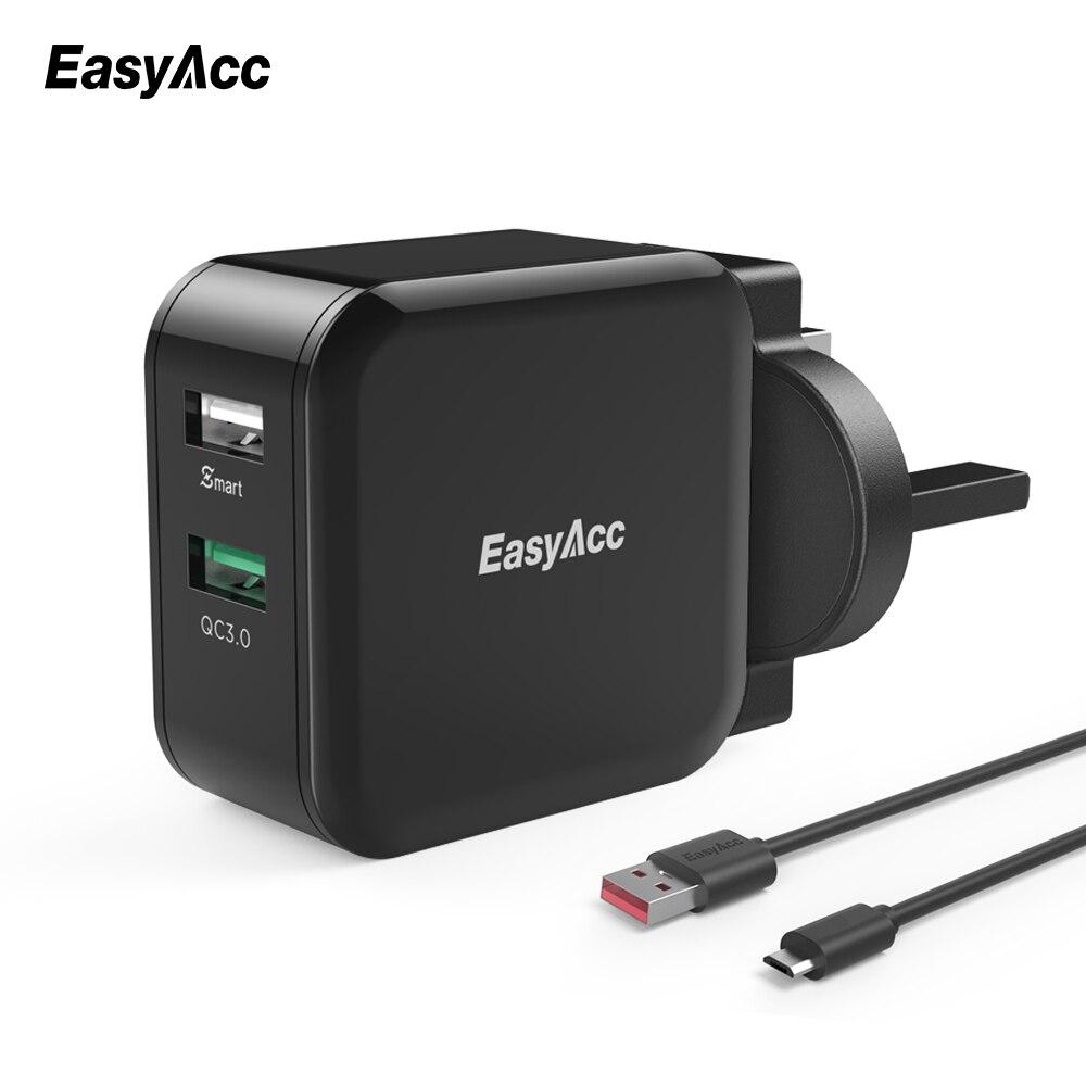 EasyAcc cargador de pared de carga rápida 3,0 30W 2 puertos adaptador inteligente cambiador de viaje para Samsung Galaxy S6 7 Huawei LG teléfono Xiaomi
