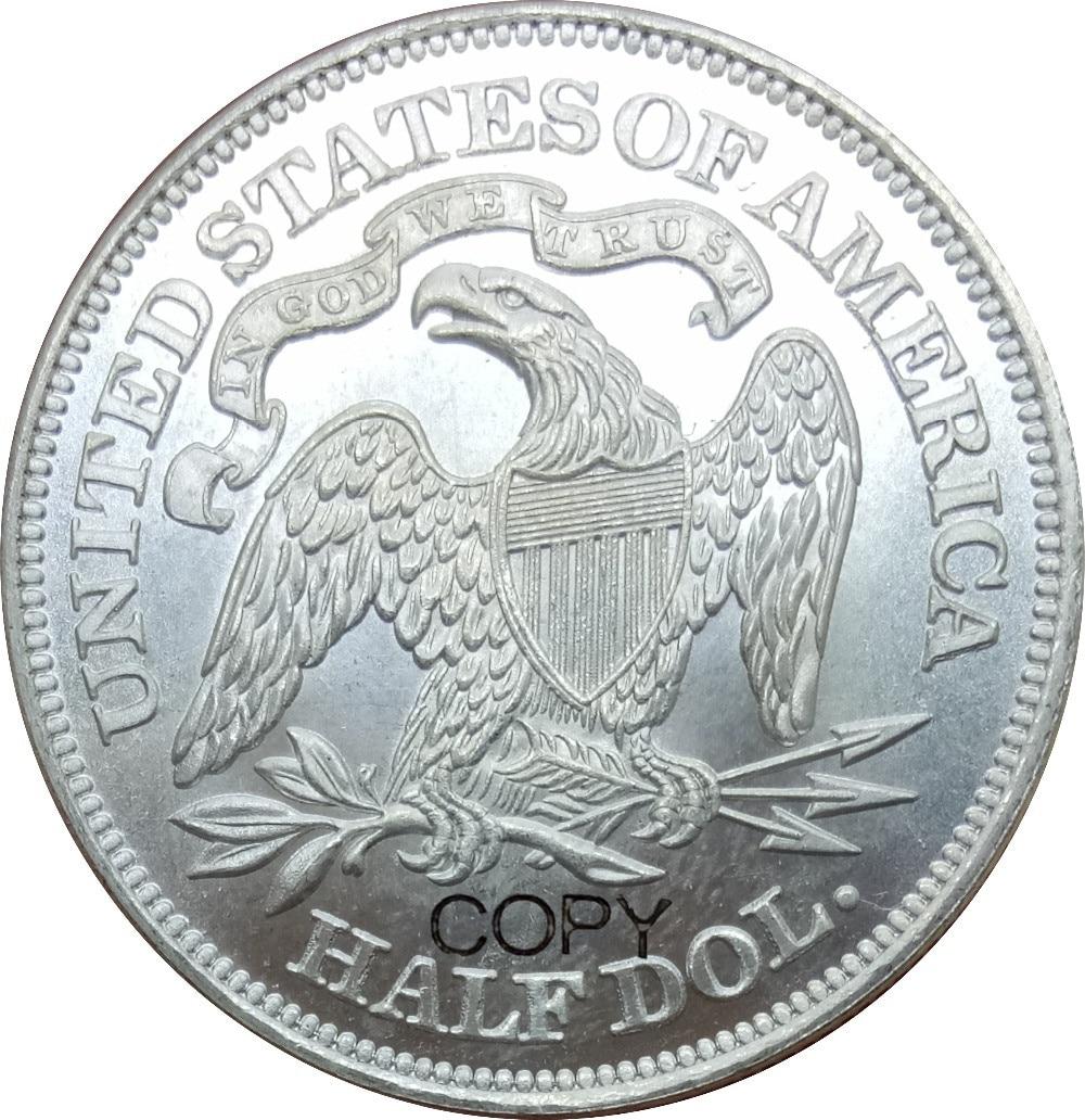 Estados Unidos libertad sentado medio dólar 1873 lema por encima águila Latón chapado en plata copia monedas
