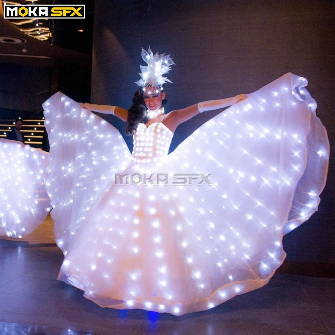 Светодиодное светящееся платье для женщин, бальное платье для танцев, светящаяся светодиодная одежда, крылья бабочки, одежда для свадьбы, в...