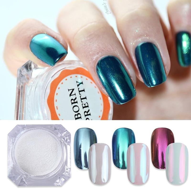 Nacido muy 3 cajas de polvo de espejo para uñas 1g polvo brillante Super decoración de uñas brillante pigmento de cromo brillante polvo