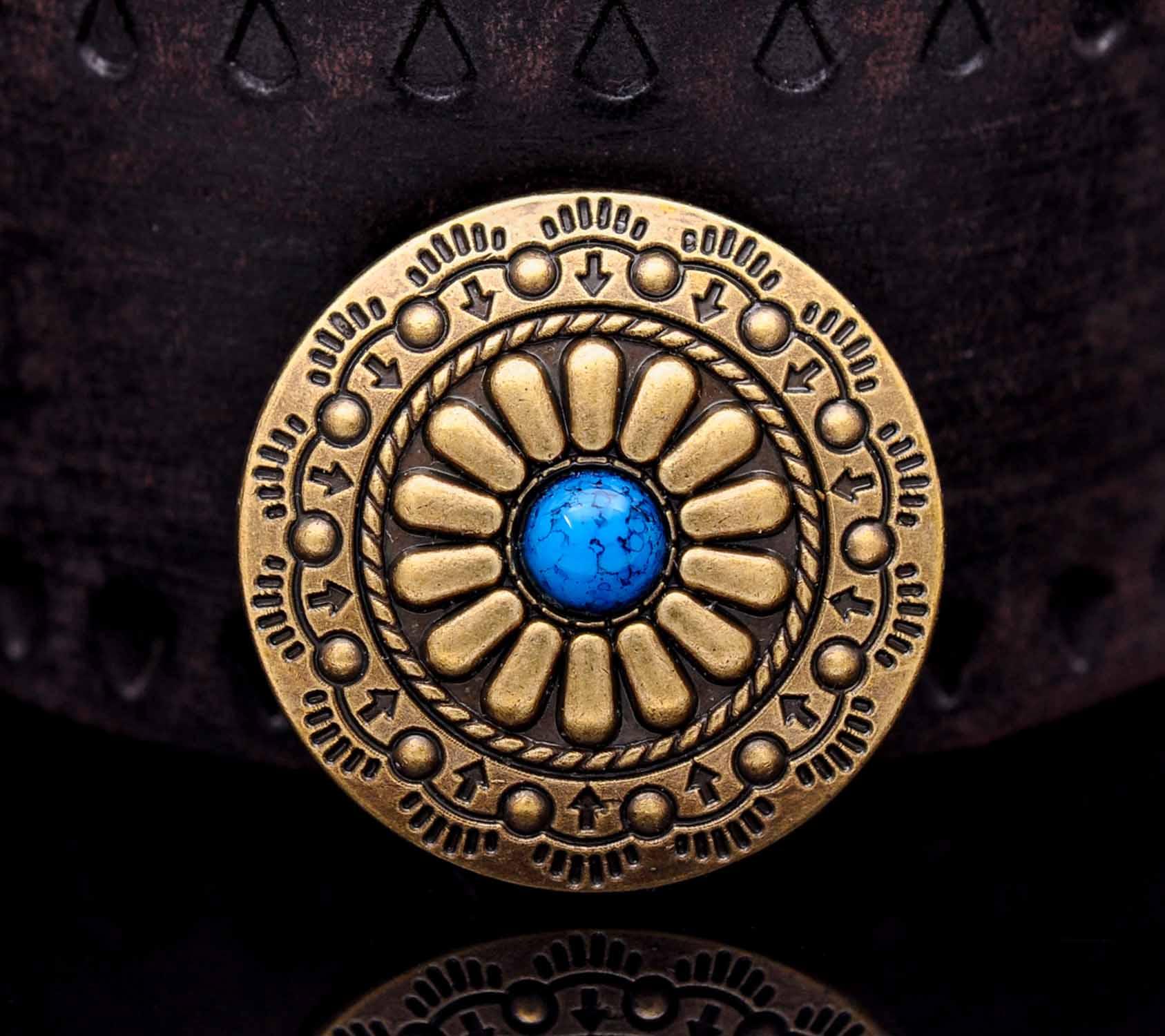 Bronce antiguo estilo Tribal suroriental flor grabada turquesa sillín Concho para cinturón Leathercraft lote de 10 piezas
