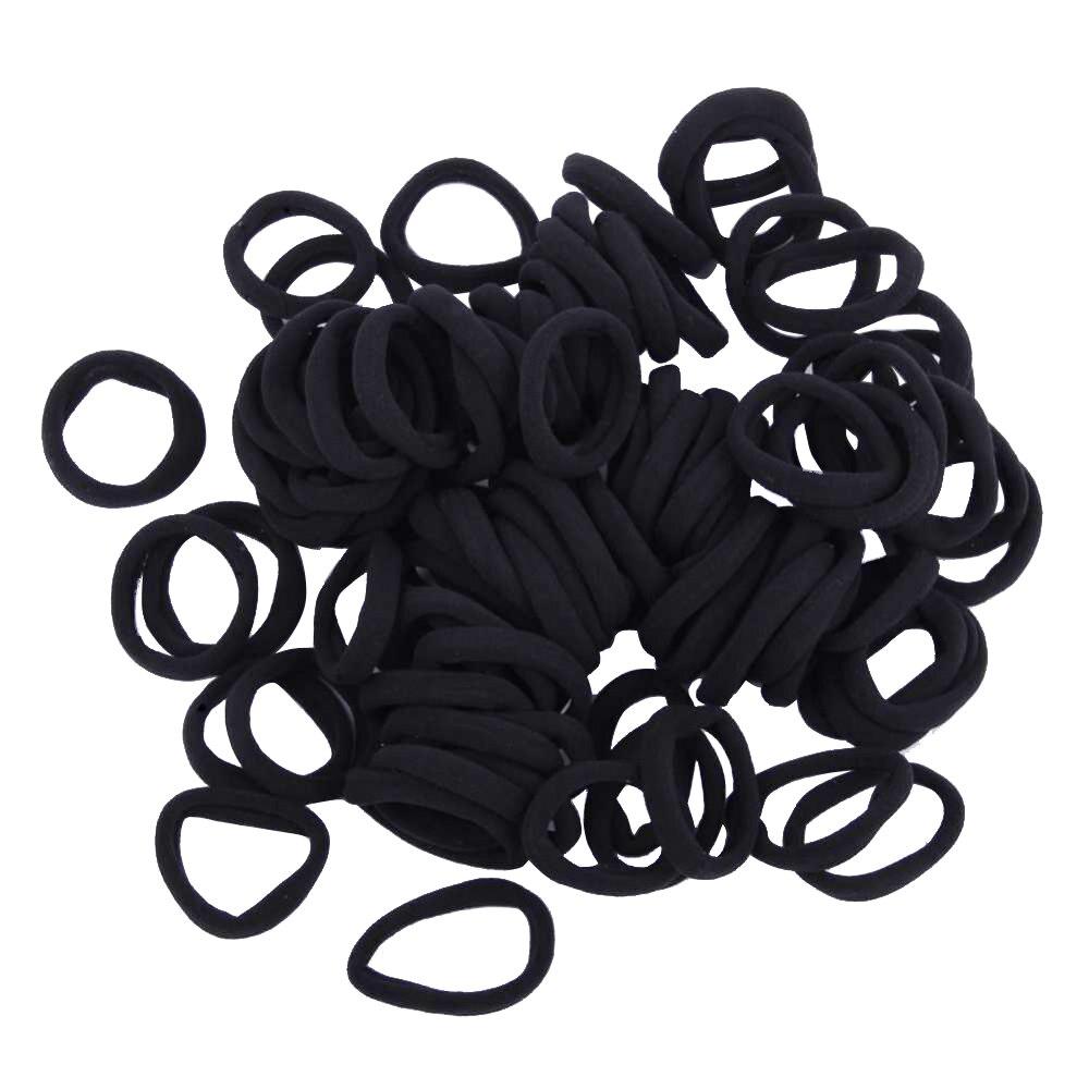 100 unids/lote de lazos de pelo elásticos negros para cabellos de niños, sujetadores de coleta, diadema, accesorios para el cabello, triangulación de envíos