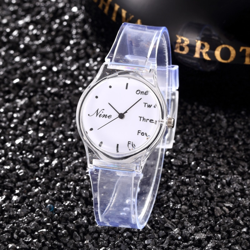 Reloj transparente para Mujer, Reloj creativo deportivo de silicona, Reloj de pulsera de cuarzo, Reloj de pulsera único de cristal para Mujer, Reloj de Mujer arcoíris