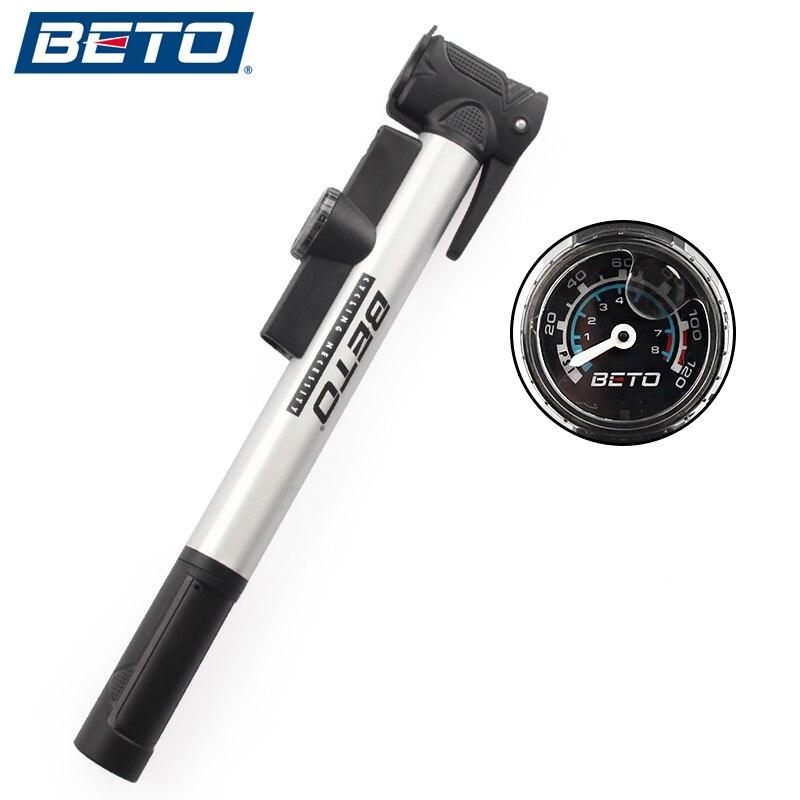 BETO pompe à vélo Mini Portable vélo de route vtt alliage daluminium pneu gonfleur pompe à Air avec support de manomètre