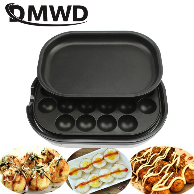 DMWD Non-stick Mini Takoyaki Maker Roasted Quail Egg Oven BBQ Grill Steak Frying Pan Electric Octopus Meatballs Machine 20 Holes