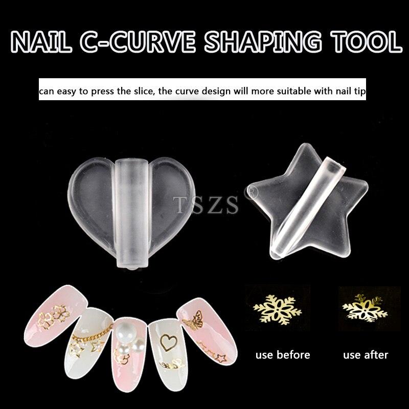 2 pçs/lote Transpartent Coração Estrela Molde fatia Prego Studs Rebites de Metal Quadros C-Shaping Curva Vara Ferramentas Da Arte do Prego manicure