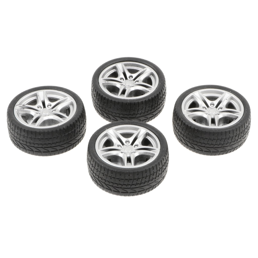 4pcs 1: 10 Drift Car Racing Car 5 Spoke Black Wheel Rims & Rubber Tires 48mm Diecast Playset Accessories