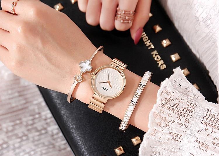 2019 GEDI Fashion Rose Gold Silver Women Watches Top Luxury Brand Ladies Quartz Watch 3 Pieces Watch Relogio Feminino Hodinky enlarge