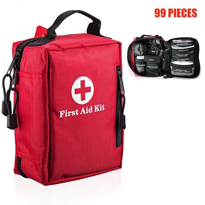 99 piezas Mini Primeros Auxilios Kit portátil impermeable al aire libre médico bolsas para senderismo Camping coche ciclismo Survie de primeros auxilios de emergencia bolsa