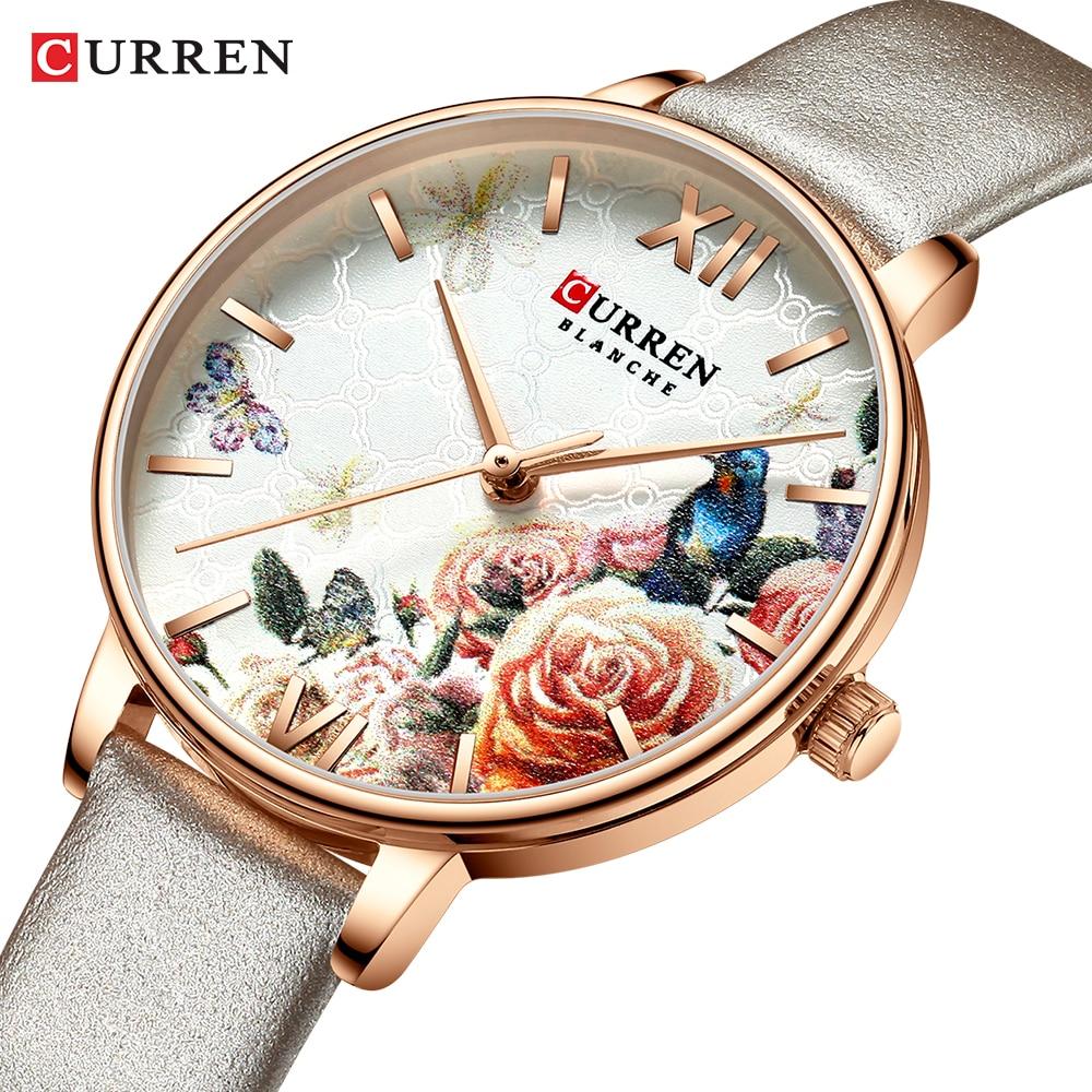 Leather Wrist Beautiful Flower Bird Women Watch Fashion Casual Slim Analog Grey Watches Ladies Dress Female Quartz Clock