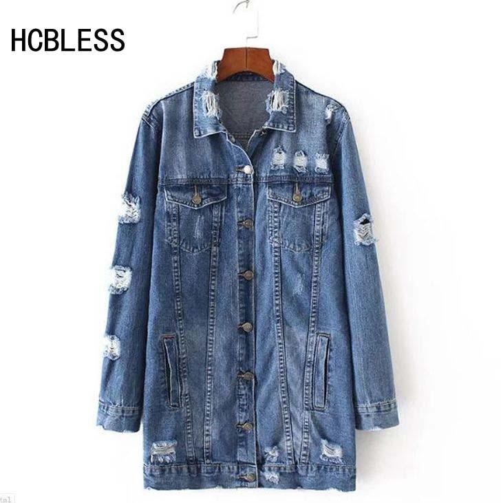 2017 chaquetas de mezclilla mujeres agujero novio estilo vintage de manga larga chaqueta de jean denim loose otoño abrigo denim jean