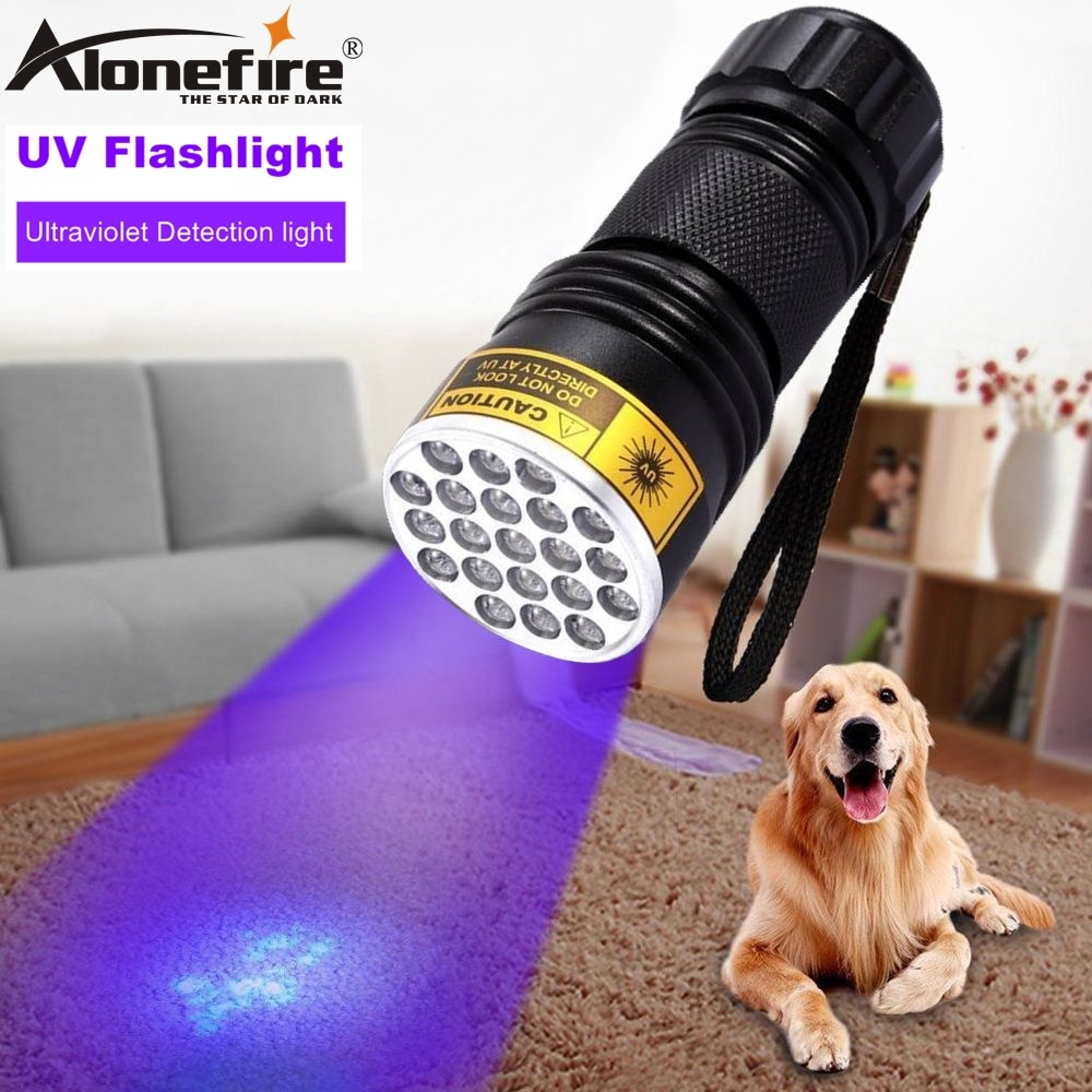 ALONEFIRE 21 Led 395nm Ultra violet licht Katze Hund Pet urin Geld Reise Hotel Unsichtbare UV Detektor taschenlampe Lampe AAA batterie