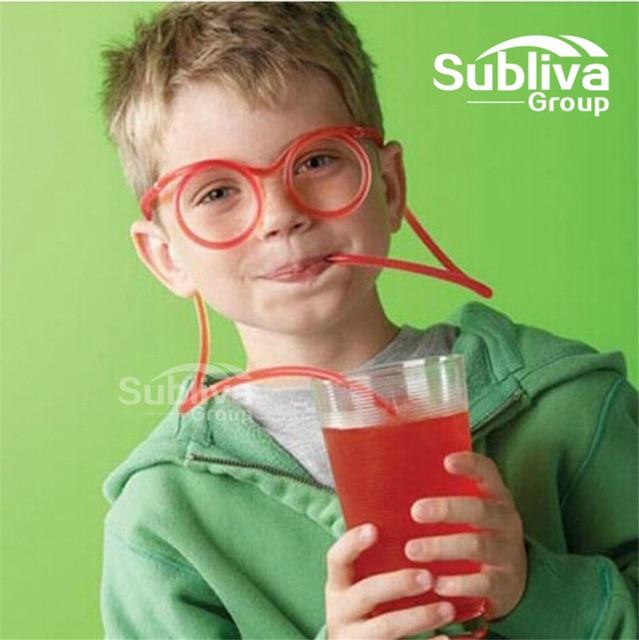 ¡Caliente! Divertido paja blanda gafas pajitas de plástico para beber pajita flexible, única niños suministros de fiesta de cumpleaños Accesorios