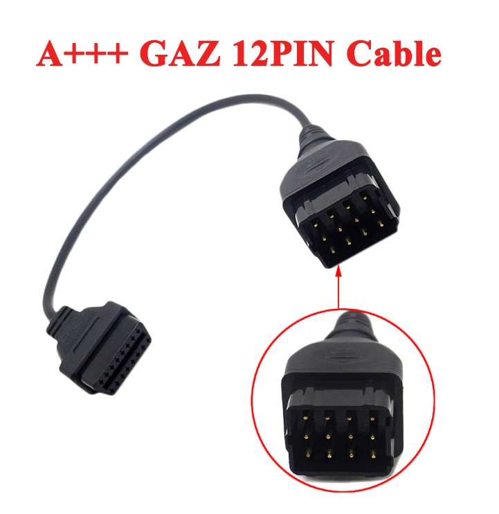 A + + CALIDAD convertidor de Cable GAZ 12 Pin 12Pin hombre A OBD DLC 16 Pin 16Pin mujer OBD2 OBDII adaptador de herramienta de diagnóstico de coche