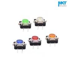 100 Pcs 12*12*7mm Durch Loch Micro Push Button Tactile Momentary Schalter Mit LED Grün Rot gelb Blau Weiß