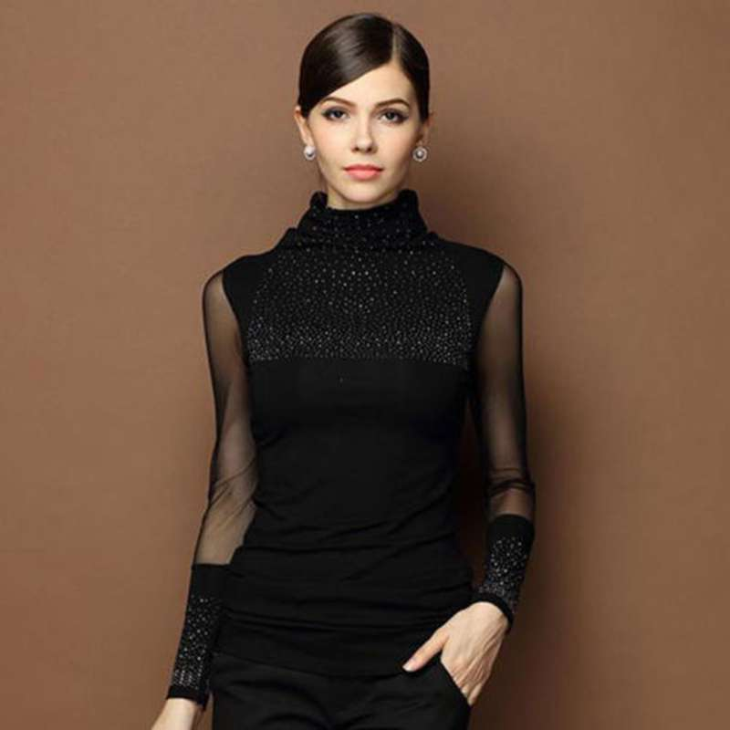Moda mujer Casual cuello tortuga manga larga de punto Slim Tops camisa Blusa de algodón