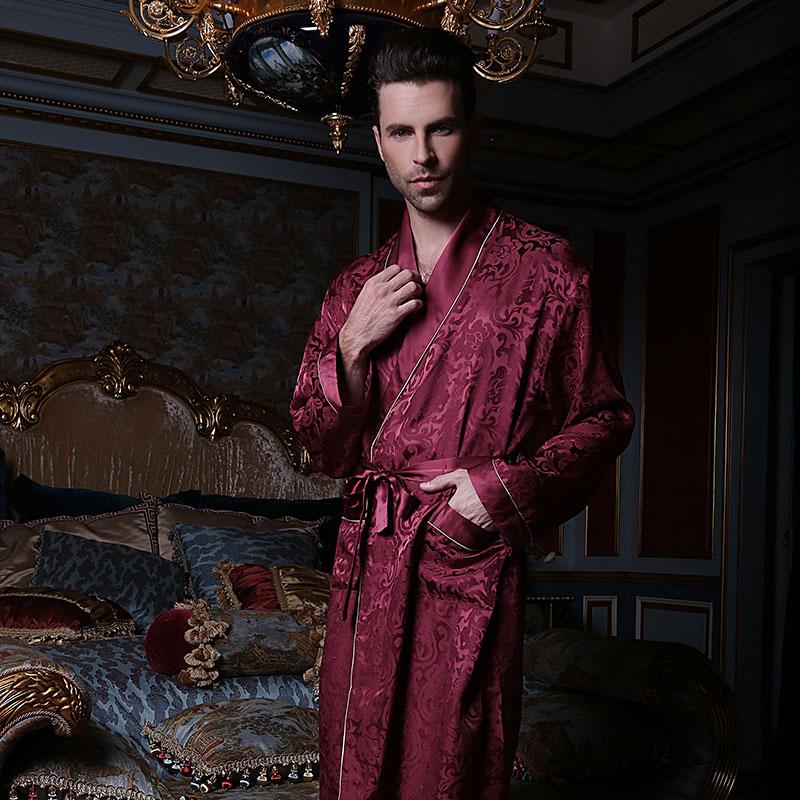 Сексуальный натуральный шелк мужской% 27 спальный халаты 100% 25 шелкопряд шелк одежда для сна мужской мода длинный рукав халат высокое качество кимоно 13167