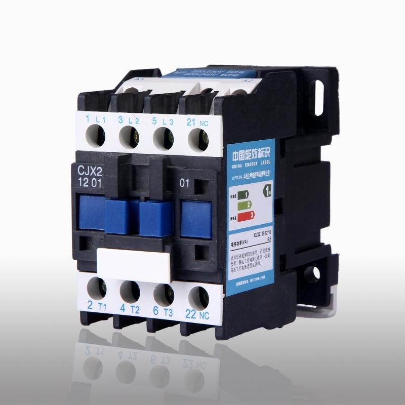 1 OFF 0 en Contactor de CA para relé de arranque de Motor AC-3 3 P 3 polos bobina de 220 voltios 12A 220 V CJX2-1201