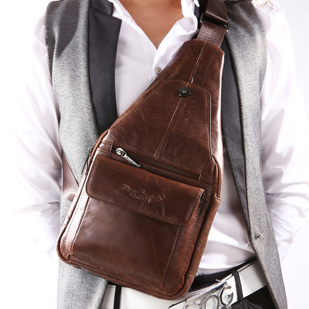 Men Genuine Leather Real Cowhide Retro Messenger Shoulder Cross Body Travel Male Rucksack Trend Sling Chest Bag Back Day Pack