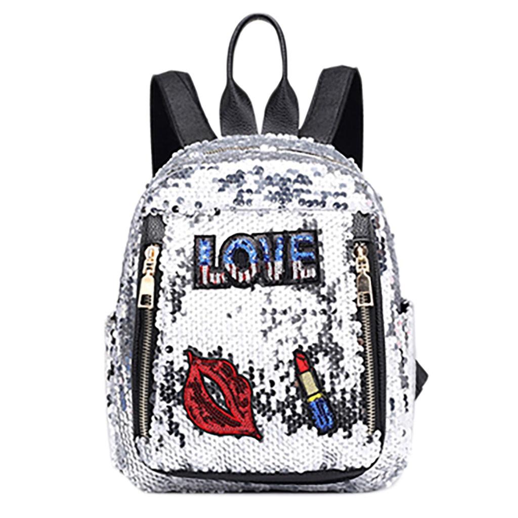 Mini mochila de lentejuelas con bonitas mochilas bordadas para mujeres y niñas mochila de viaje brillante mochila escolar