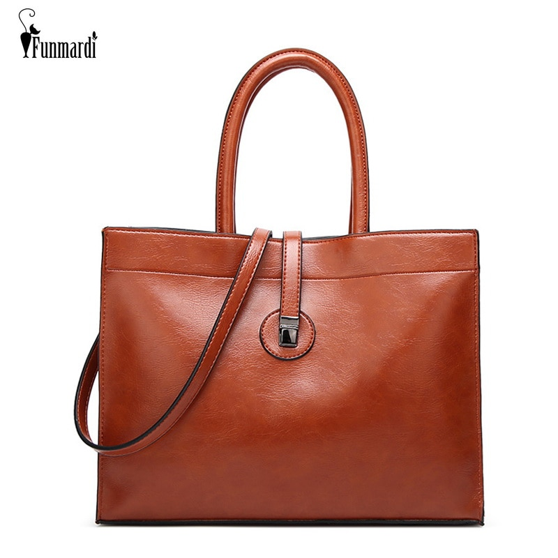 FUNMARDI الكلاسيكية الفاخرة المرأة حقيبة كبيرة حمل الحقائب الإناث بولي جاكيت جاكيت جلدي مقبض حقيبة عالية الجودة سيدة حقيبة كتف WLHB1838