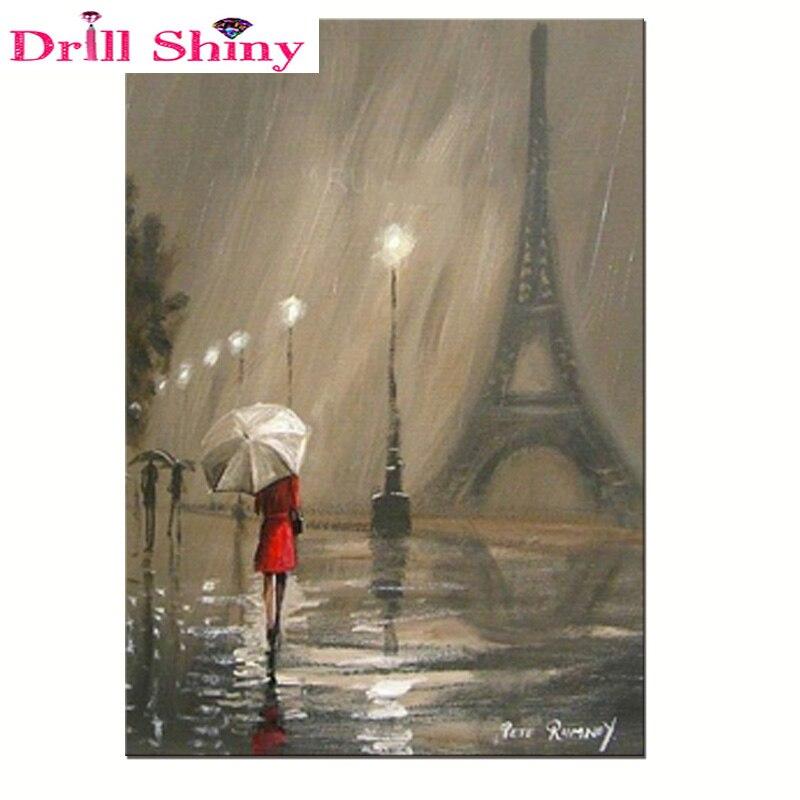 Estilo Europeo pintura de diamantes lluvia amante diamante bordado paraguas pintura punto de cruz mosaico Torre Eiffel pegatinas de pared Kits