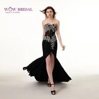 wowbridal sexy black long evening dress 2021 sweetheart strapless crystal pattern sequins beaded high split mermaid women dress