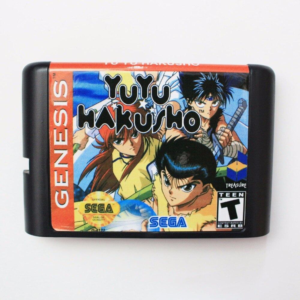Yu Hakusho-Makyoutohissen 16 poco SEGA tarjeta de juego MD para Sega Mega Drive para Génesis