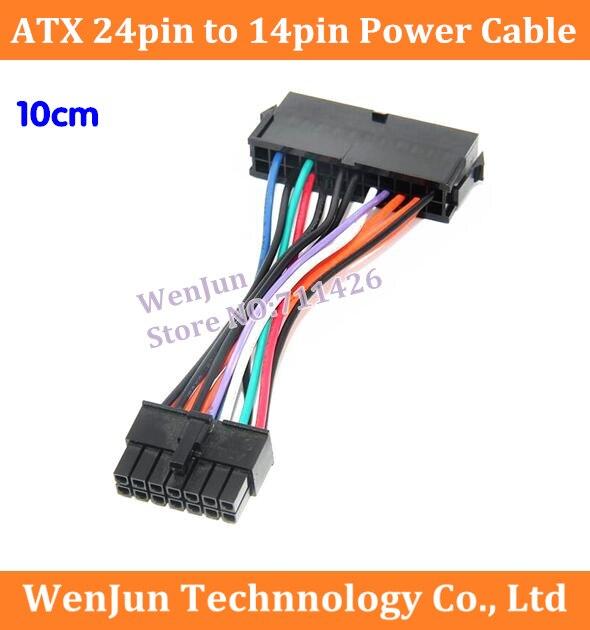 10 pçs novo 10cm atx 24 pinos para 14 pinos cabo de alimentação para lenovo q77 b75 a75 q75 placa-mãe cabo