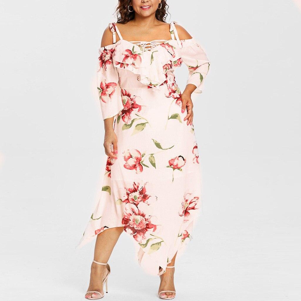 Verano de talla grande estampado medio vestido de moda de las mujeres de hombro de encaje hasta maxi vestido de impresión Floral flujo elbise nuevo # G3