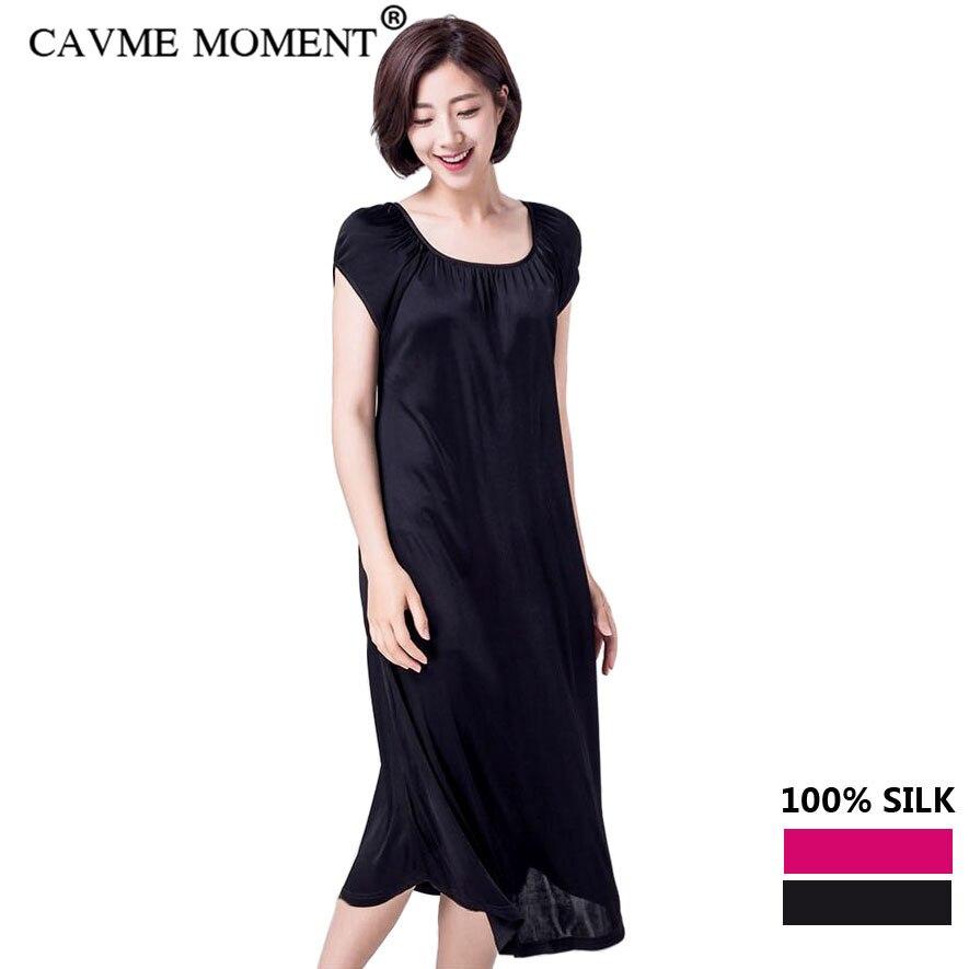 Длинная Ночная сорочка с короткими рукавами CAVME, пижама из натурального шелка большого размера, Однотонная ночная рубашка с круглым вырезом, цвет розовый, черный