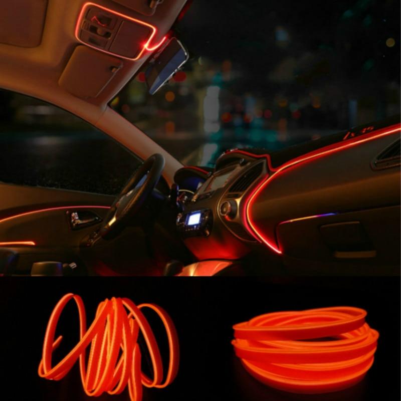 JURUS 3Meter Car Styling Ambient Light Interior Decoration Light EL Wire Flexible Led Neon Strip 12V Cigarette Lighter Socket