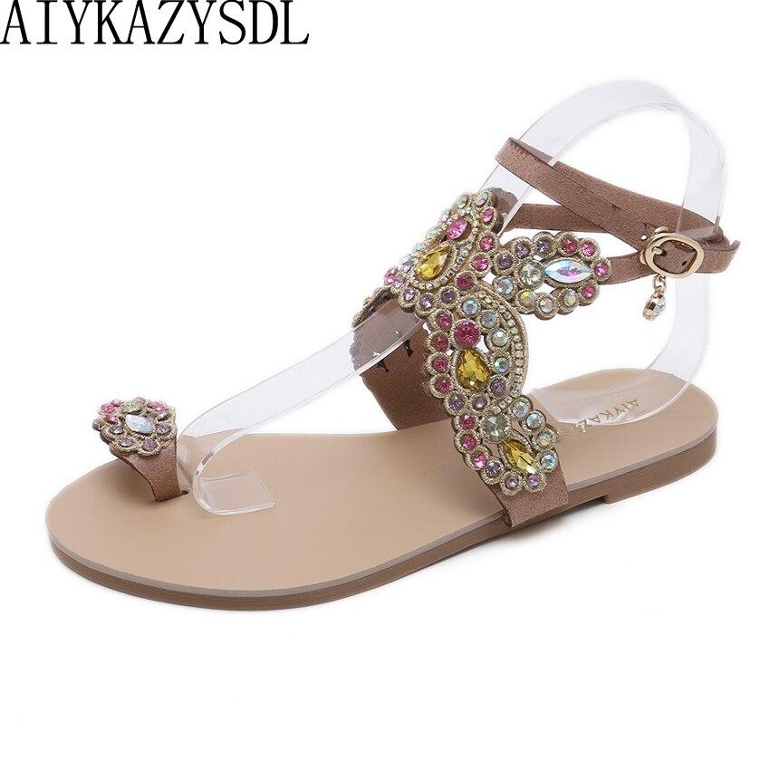 Sandalias planas AIYKAZYSDL con cristales de imitación para mujer, Sandalias planas con tacón, Dama de Honor de boda de lujo, anillo de zapatos, sandalias con punta étnico bohemio