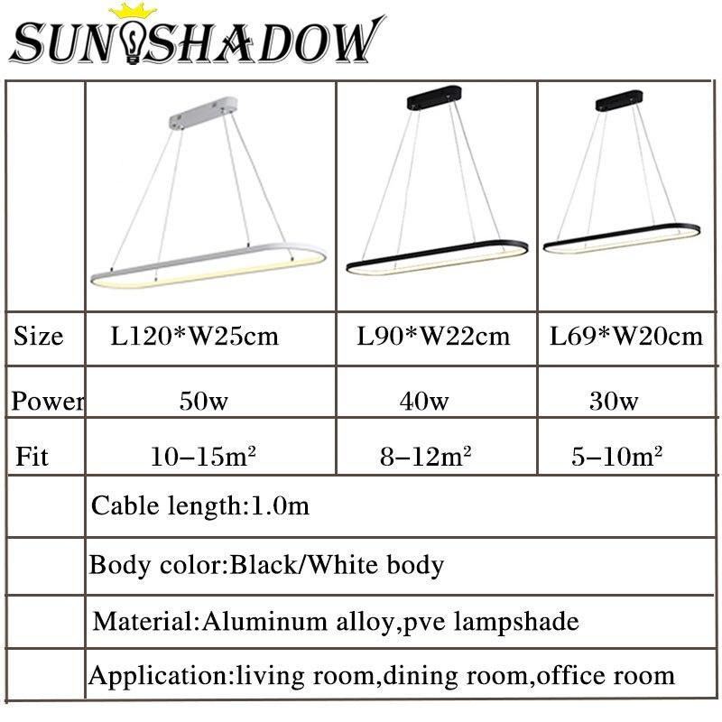 Купить с кэшбэком Modern Pendant Light LED Pendant Lamp White&Black finished For Dining room Living room Kitchen Lighting Fixturs L120CM 90CM 69CM