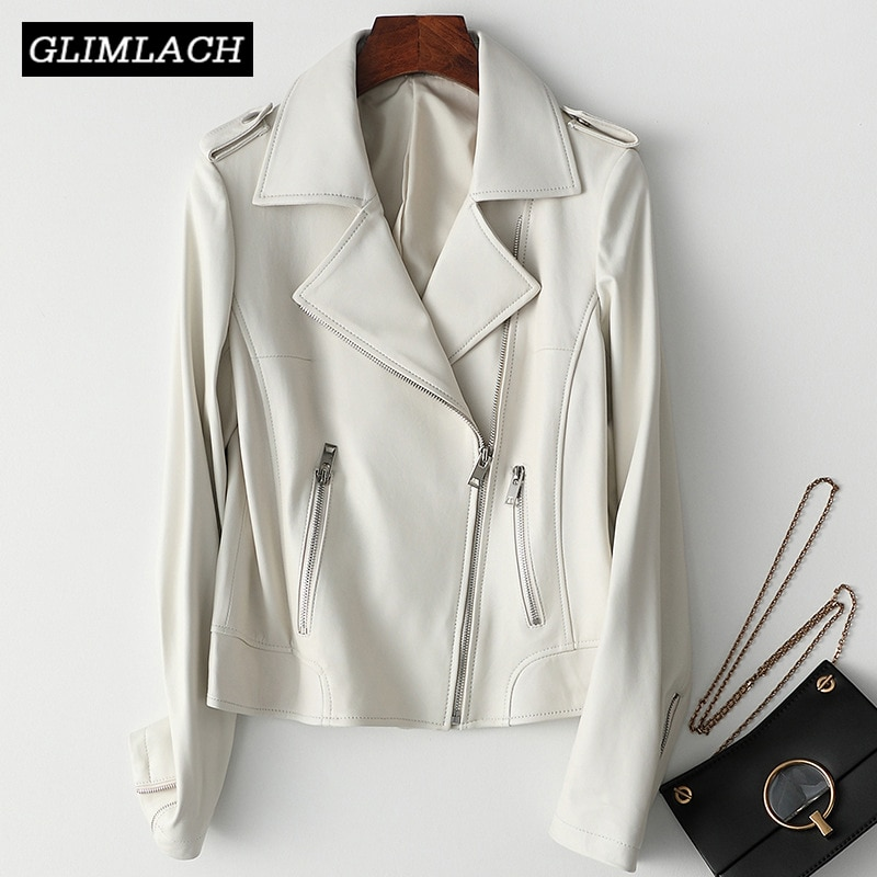 Women White Leather Jacket Ladies Brown Genuine Sheepskin Real Leather Motorcycle Jacket Female Zipper Short Coats High Quality 100% quality men clothing coat jacket real leather winter male jacket motorcycle zipper stand brown genuine leather jacket mens